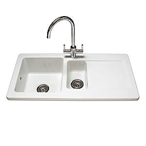 Reginox Rl501cw Contemporary Ceramic 1 5 Bowl White Kitchen Sink