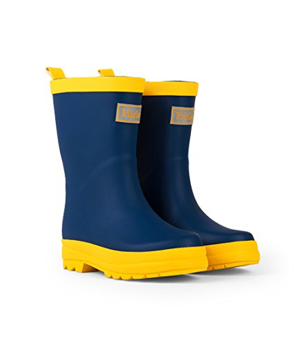 Hatley Kids' Little Classic Rain Boots, Navy & Yellow, 12 US Child ()
