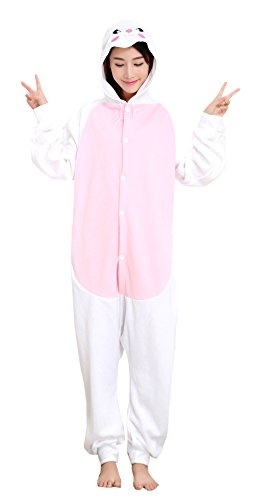 MizHome White Rabbit Polar Fleece Kigurumi Costume One-Piece Pajamas (White Rabbit Hood)