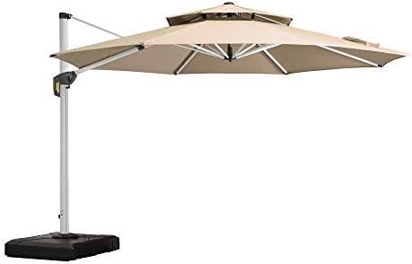 PURPLE LEAF 13 Feet Double Top Round Deluxe Patio Umbrella Offset Hanging Umbrella Outdoor Market Umbrella Garden Umbrella, Beige