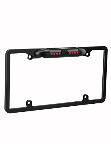 Backup Camera License Plate, VEIPAO 8 IR Rear View Camera Waterproof Rear View Backup Camera License Plate Frame Mount with 170 Degree Wide High-Definition Viewing Angle and LED Night Vision IP67