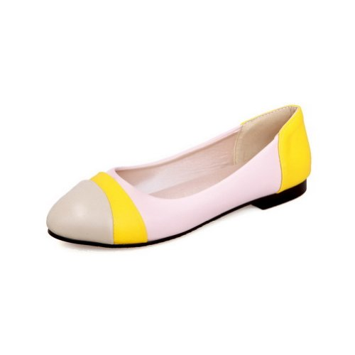 AmoonyFashion Womens Closed Round Toe Low Heel PU Soft Material Flats Shoes with Assorted Colors Pink LdDLF