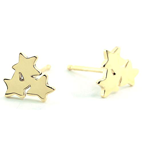 Sterling Silver STAR FLOWER Stud Earring (Gold)