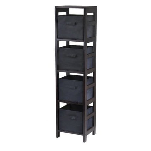 Luxury Home Capri 4-Section N Storage Shelf with 4 Foldable Black Fabric Baskets