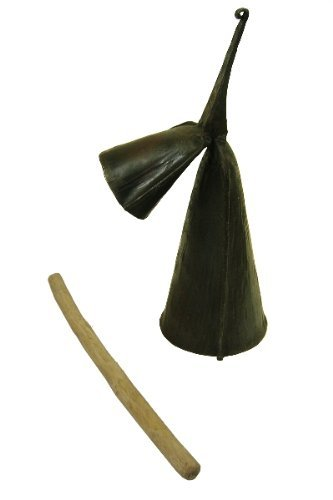 Large Gankogui Double Bell with Stick - Agogo Cow Bell from Ghana - Large Size by Africa Heartwood Project