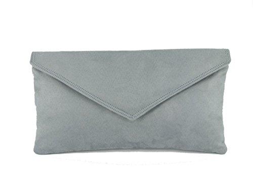 Sac À Main Pochette Enveloppe Faux Daim en gris