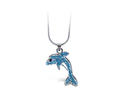(Puzzled Blue Dolphin Necklace, 18 Inch Fashionable & Elegant Silver Chain Jewelry with Rhinestone Studded Pendant for Casual Formal Attire Ocean Marine Life Themed Unisex Fashion Neck)