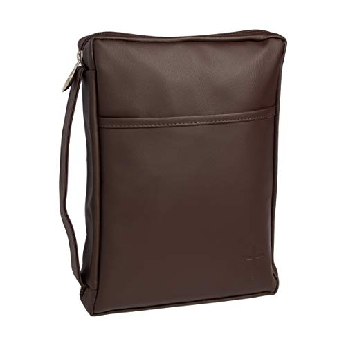 Mocha Outer Pocket Leather Like Vinyl Bible Cover Case with Handle, Large ()