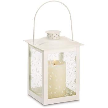 Gifts & Decor Large White Lantern Ivory Glass Candleholder Candle