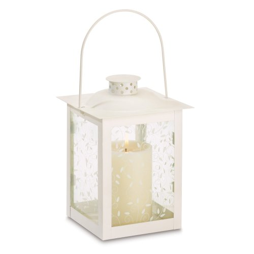 Large White Lantern Ivory Glass Candleholder Candle by Gifts & Decor