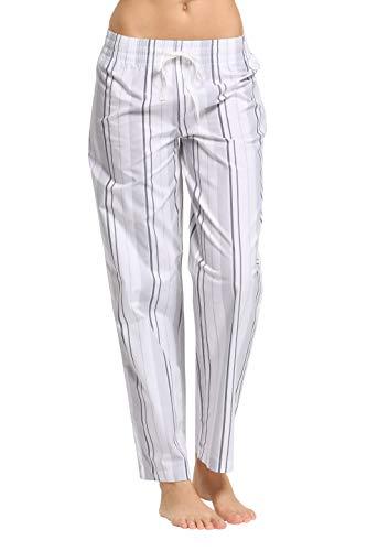 CYZ Women's 100% Cotton Woven Sleep Pajama Pants-VoileSilverStripe-S