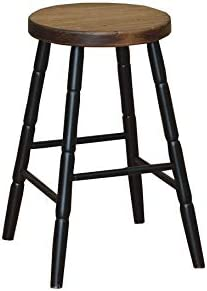 Peaceful Classics Amish Hand Made 24 Inch Wooden Bar Stool Round Legs Black