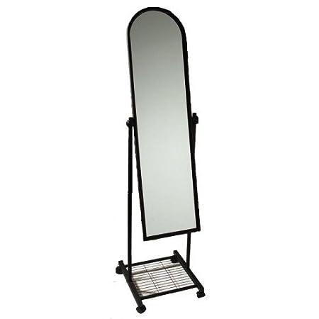 Full Length Floor Standing Mirror 160 CM with Wheels Black: Amazon ...
