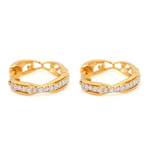 Natural 0.17 Ct Diamond Pave Floral Design Stud Earrings Solid 14K Yellow Gold Fine Jewelry Gift For Her ()
