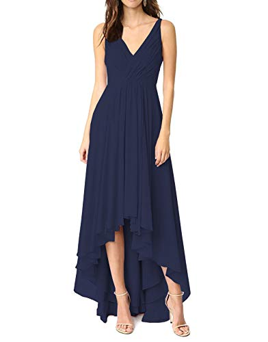 Women's Modest Chiffon Maid of Honor Dress Asymmetrical Length Pleat Prom Gowns Navy Blue,10
