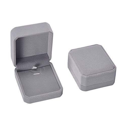 iSuperb Set of 2 Gray Velvet Necklace Pendant Box Jewelry Box Gift Boxes 3.1x1.6x2.8inch ()