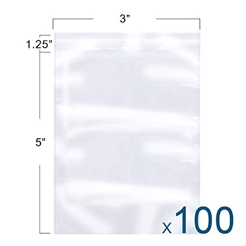 The Elixir Packaging 100 Count 3 x 5 Clear Reclosable Poly Bag, Meets USDA FDA Standards