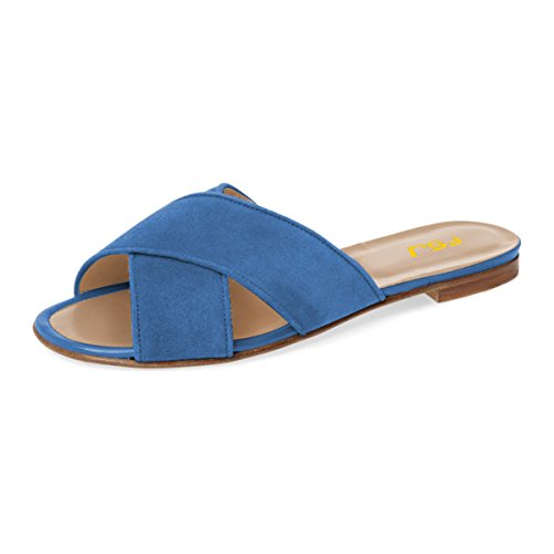 FSJ Heels Women 15 Casual Mules Size Suede Blue Low Shoes Toe 4 Open Crisscross Flats Slide Sandals US ffS8nRHqr