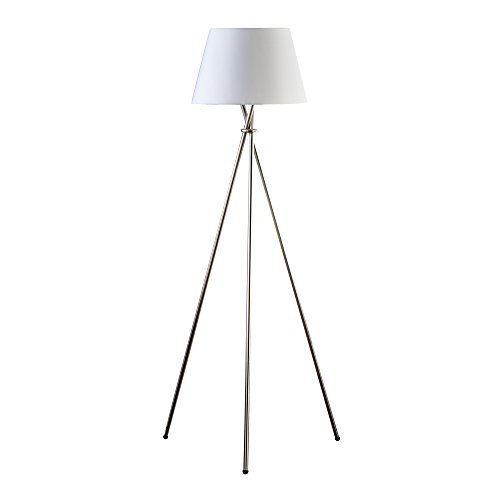 (Catalina Lighting 19014-001 Modern Metal Tripod Floor Lamp with White Linen Shade for Living Room, Bedroom, Dorm, Office, 59