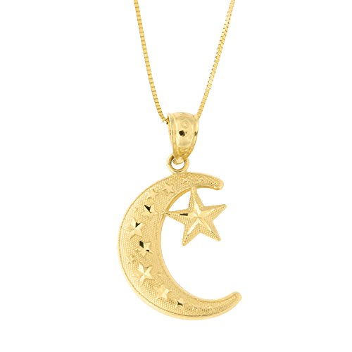 Beauniq 14k Yellow Gold Large Diamond Cut Crescent Moon and Star Pendant Necklace, 18 Inches