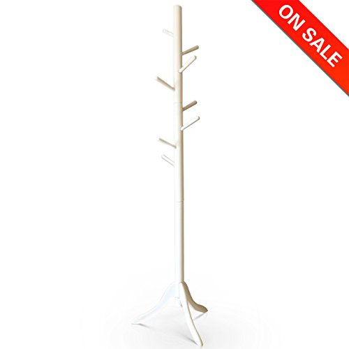 Vlush Standing Coat Rack - 8 Hooks Solid Rubber Wood Entryway Hall Tree Coat Tree with Tripod Base for Coat Hat Purse Jacket, White