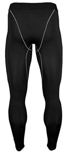 Lanbaosi 接触冷感コンプレッション スポーツタイツ [UVカット?吸汗速乾] ロングパンツ アンダーウェア メンズ(2枚組セット) 黒白2色