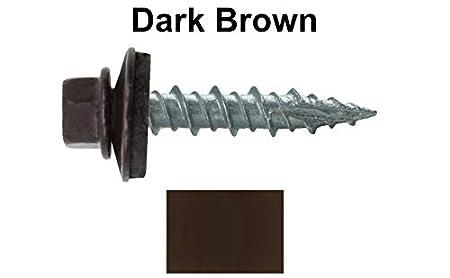 Self Starting Metal to Wood siding Screws Metal Roofing Screws: 10 x 1 Dark Brown Hex Head Sheet Metal Roof Screw EPDM Washer 250 Colored Head