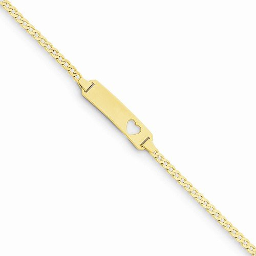 Solid 14k Yellow Gold Curb Cuban Link Link Children Boy Girl Baby Kids ID, Plate with Cut out Love Heart Bracelet - with Secure Lobster Lock Clasp 5.5'' by Sonia Jewels