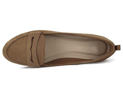 Greatonu Frauen Faux Wildleder Komfort Slip-On Penny Loafer flache Schuhe Kamel