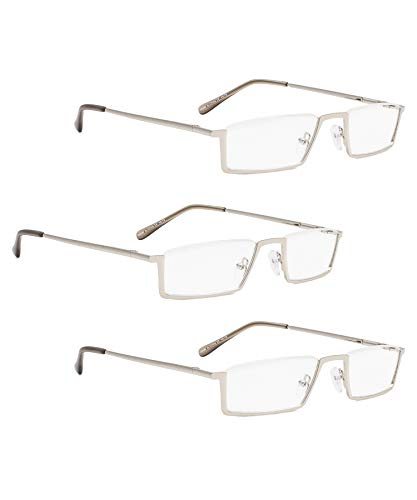 READING GLASSES 3 pack Metal Half-Rim Readers (Silver, 2.50)