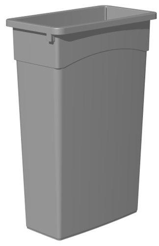 Continental 8322GY 23-Gallon Wall Hugger LLDPE Waste Receptacle, Rectangular, Gray