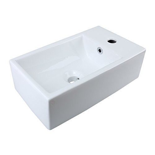 Small White Vessel Sink Vitreous China Rectangle Scratch ...