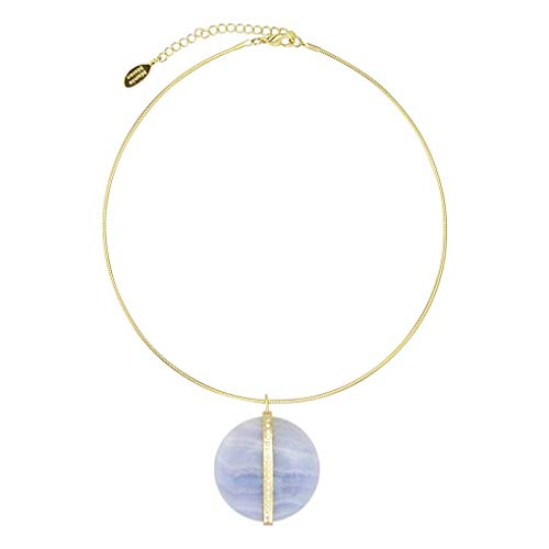 Marcia Moran Tali Pendant Collar Necklace in Blue Lace Agate and Gold
