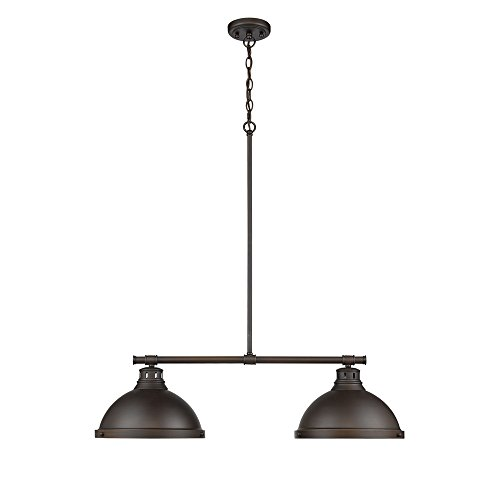 Golden Lighting 3602-2LP RBZ-RBZ Duncan 2-Light Linear Pendant in Rubbed Bronze with Rubbed Bronze Shadess