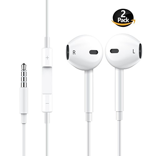 Earbuds Lightning Earphones Stereo Mic Headphones Noise Cancelling with Microphone and Remote Control for iPhone iPod Samsung Galaxy and More Android Smartphones White (2 Pack)