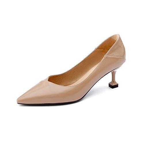 Yukun zapatos de tacón alto Tacones Altos, Primavera Y Otoño Tacones Altos, Tacones De Aguja De Las Mujeres, Los Gatos Acentuados, Los Solteros Apricot