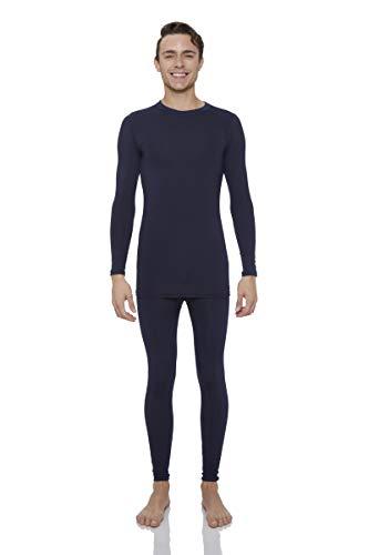 Rocky Thermal Underwear for Men Fleece Lined Thermals Men's Base Layer Long John Set Navy (Best Underwear In The World)