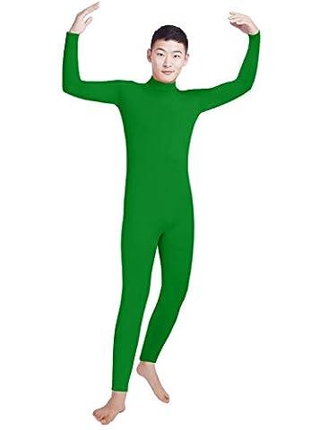 Men's Lycra Spandex Turtleneck Long Sleeve One Piece Dancewear Unitard Bodysuit (L, green) - Lycra Turtleneck Dress