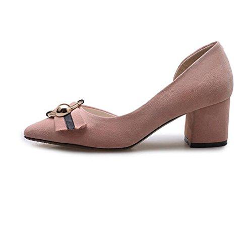 Capa Zapatos Muelle Alto Gruesa Una Y Lateral de Sola con matorral Rosa Zapatos Los XZGC de de Tacón dIfq7wEOnO