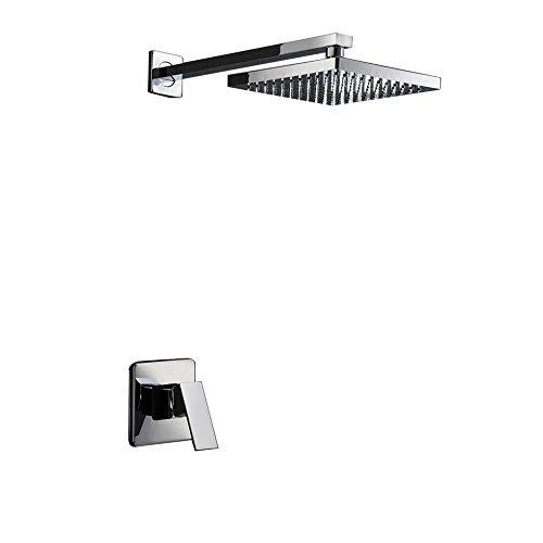 (Lightinthebox Chrome Wall Mount Bathroom Bath Shower System Fixed Rainfall Shower Head Single Handle Shower Faucet Chrome Lavatory Fixed Single Handle Shower Faucet with Shower Arm)
