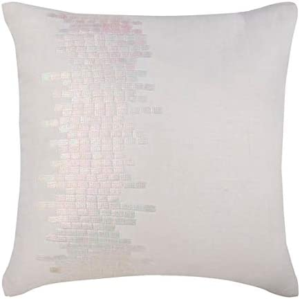 The HomeCentric Euro Pillow Sham, Luxury White Euro Shams 26×26 inch 65×65 cm , Linen European Shams, Abstract, Modern Euro Sham Covers – Rainbow Streaks