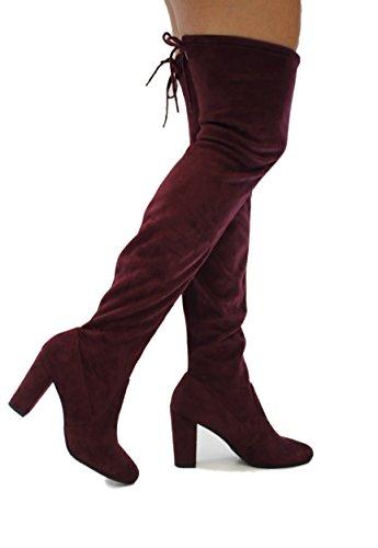 MVE Schuhe Damenmode Bequeme Vegane Wildleder Block Heel Slip On Oberschenkel Hohe Overknee Stiefel Vino Imsu * s