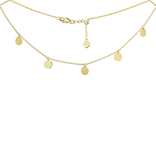 - Choker Necklace with Dangle Disk Charms Chain 14k Yellow Gold - Adjustable