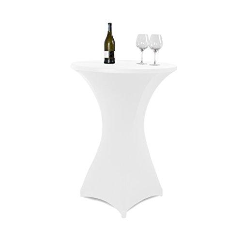Vanage Outdoor-Tischdecken Strech-Husse für Stehtische/Bistrotische, Tischdurchmesser 70 - 80 cm, weiß