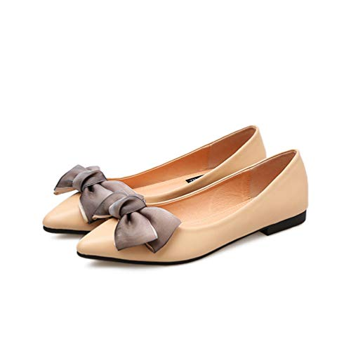 Women's Classic Pointy Toe Ballet Flats Shoes Loafers Canvas Butterfly-Knot Comfort Soft Slip On Flat Dress Shoes Apricot