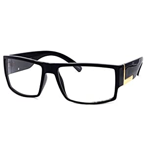 VINTAGE Rectangle Flat Top Frame Clear Lens Eyeglasses (Black, Clear)