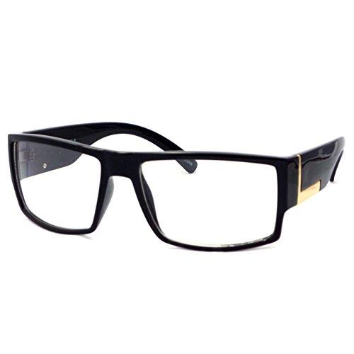 VINTAGE Rectangle Flat Top Frame Clear Lens Eyeglasses (Black, - Rectangle Glasses Designer