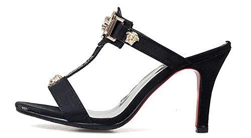 Sexy Mules à Strass Chaussures Talon Noir Bal Haut Aisun Décor Femme des xTnqwvnS