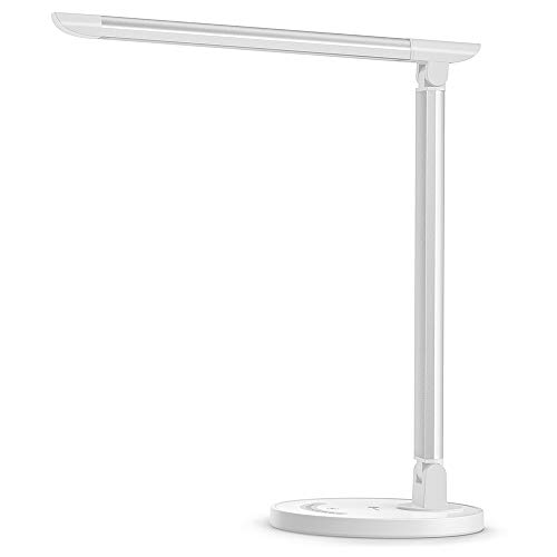 Adjustable Mini Desk Lamp - TaoTronics LED Desk Lamp, Eye-caring Table Lamps, Dimmable Office Lamp with USB Charging Port, 5 Lighting Modes with 7 Brightness Levels, Touch Control, White, 12W, Philips EnabLED Licensing Program