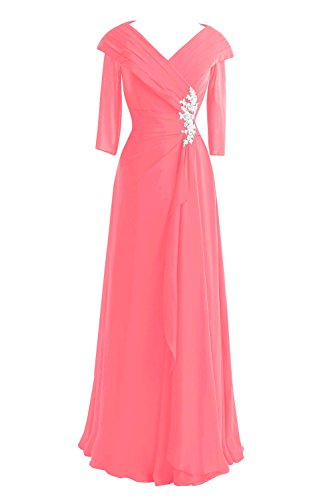 3 V Formal Mother Women's Sleeves The Bride Watermelon Long Bridal Dresses 4 Neck of Bess AEBHaIqwW